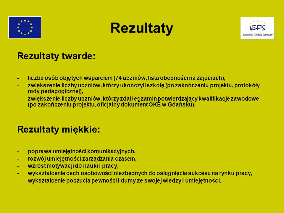 Rezultaty Rezultaty twarde: -liczba osób objętych wsparciem (74 uczniów, lista obecności na zajęciach), -zwiększenie liczby uczniów, którzy ukończyli szkołę (po zakończeniu projektu, protokóły rady pedagogicznej), -zwiększenie liczby uczniów, którzy zdali egzamin potwierdzający kwalifikacje zawodowe (po zakończeniu projektu, oficjalny dokument OKE w Gdańsku).
