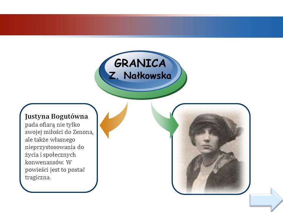 Justyna Bogutówna pada ofiarą nie tylko swojej miłości do Zenona, ale także własnego nieprzystosowania do życia i społecznych konwenansów.
