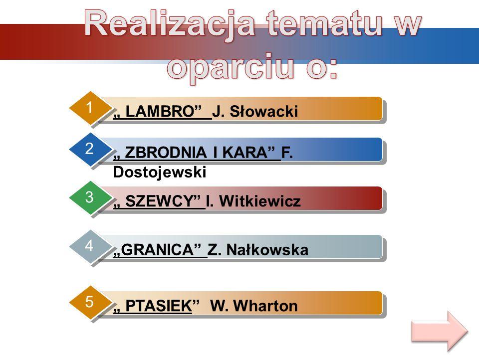 LAMBRO J. Słowacki 1 ZBRODNIA I KARA F. Dostojewski 2 SZEWCY I. Witkiewicz 3 GRANICA Z. Nałkowska 4 PTASIEK W. Wharton 5