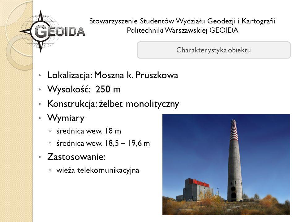 Lokalizacja: Moszna k. Pruszkowa Wysokość: 250 m Konstrukcja: żelbet monolityczny Wymiary średnica wew. 18 m średnica wew. 18,5 – 19,6 m Zastosowanie: