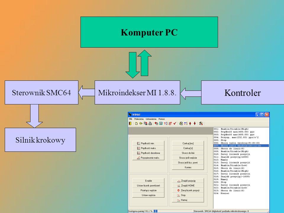 Komputer PC Mikroindekser MI 1.8.8. Kontroler Sterownik SMC64 Silnik krokowy