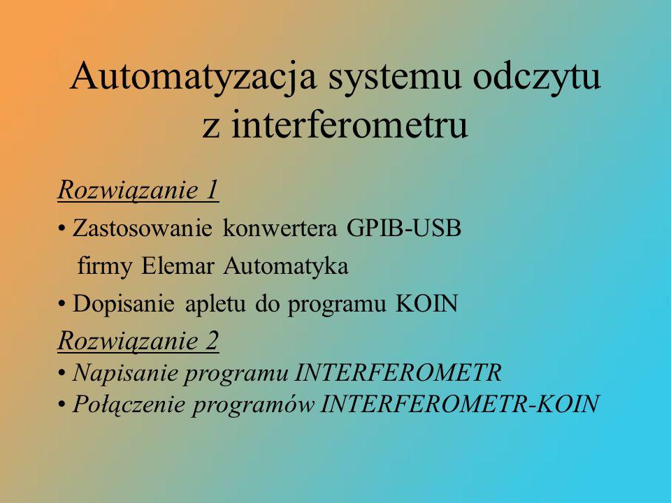 Automatyzacja systemu odczytu z interferometru Rozwiązanie 1 Zastosowanie konwertera GPIB-USB firmy Elemar Automatyka Dopisanie apletu do programu KOI