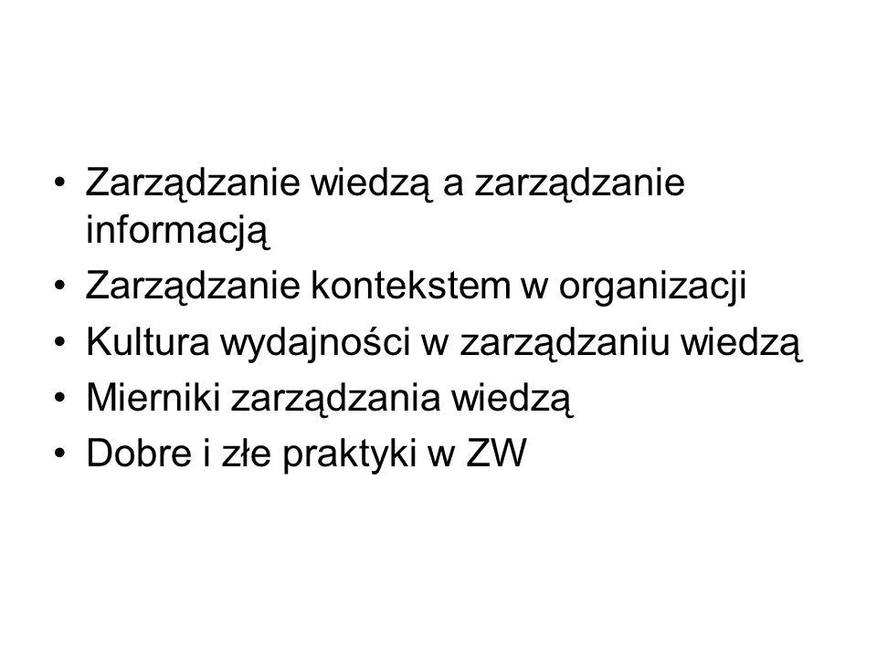 Zarządzanie wiedzą a zarządzanie informacją Zarządzanie kontekstem w organizacji Kultura wydajności w zarządzaniu wiedzą Mierniki zarządzania wiedzą D