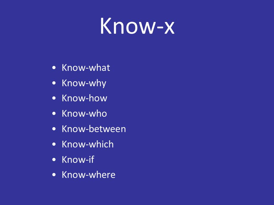 Know-x Know-what Know-why Know-how Know-who Know-between Know-which Know-if Know-where