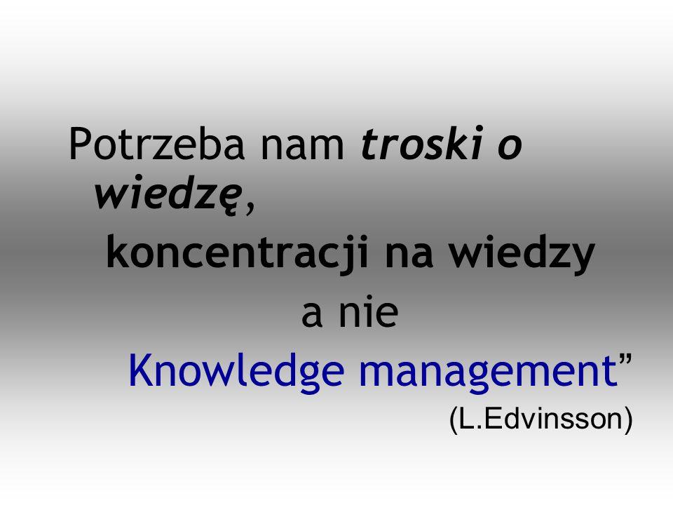 Potrzeba nam troski o wiedzę, koncentracji na wiedzy a nie Knowledge management (L.Edvinsson)