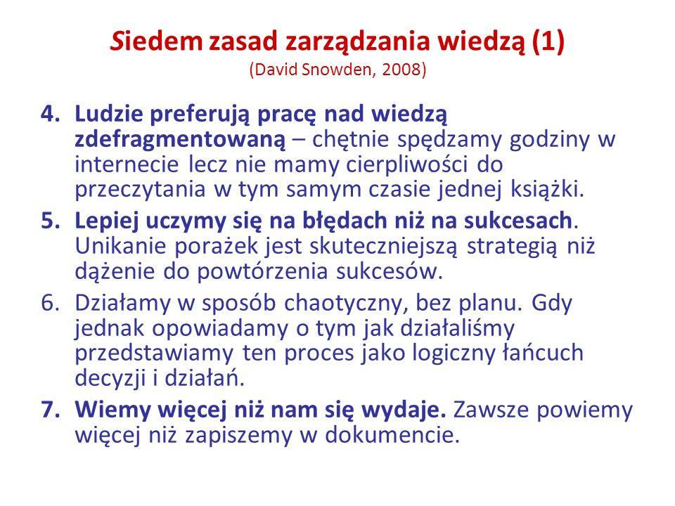 Siedem zasad zarządzania wiedzą (1) (David Snowden, 2008) 4.Ludzie preferują pracę nad wiedzą zdefragmentowaną – chętnie spędzamy godziny w internecie