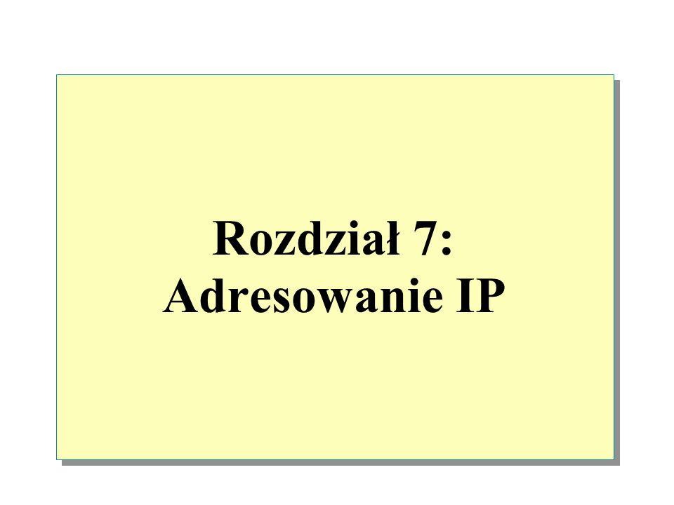 Zasady adresowania Identyfikator hosta nie może składać się tylko z zer Identyfikator hosta nie może składać się tylko z liczb 255 Pierwszą liczbą identyfikatora sieci nie może być liczba 127 Identyfikator hosta nie może powtórzyć się w podsieci