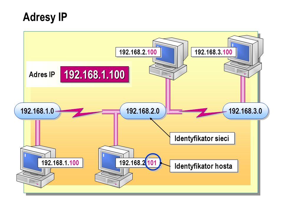 Klasy adresów IP wxyz Klasa A Identyfikator sieci Identyfikator hosta Klasa B Identyfikator sieci Identyfikator hosta Klasa C Identyfikator sieci Identyfikator hosta