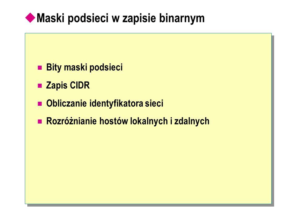 Maski podsieci w zapisie binarnym Bity maski podsieci Zapis CIDR Obliczanie identyfikatora sieci Rozróżnianie hostów lokalnych i zdalnych