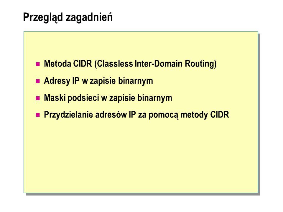 Przegląd zagadnień Metoda CIDR (Classless Inter-Domain Routing) Adresy IP w zapisie binarnym Maski podsieci w zapisie binarnym Przydzielanie adresów I