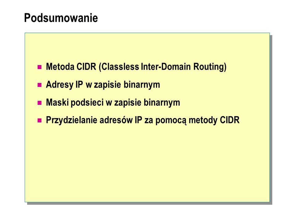 Podsumowanie Metoda CIDR (Classless Inter-Domain Routing) Adresy IP w zapisie binarnym Maski podsieci w zapisie binarnym Przydzielanie adresów IP za p