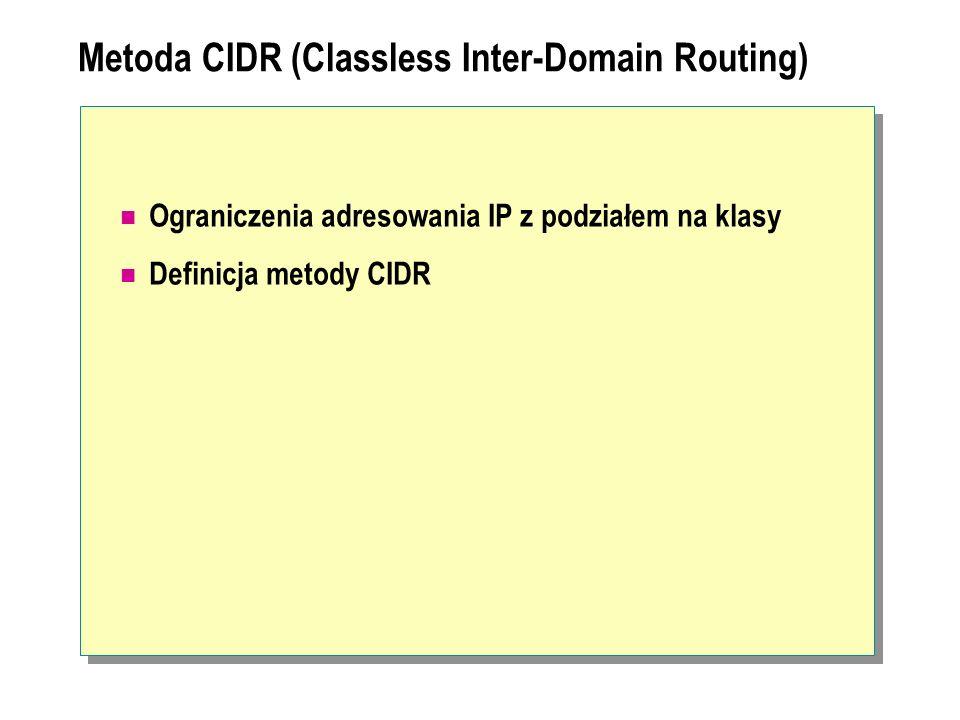 Metoda CIDR (Classless Inter-Domain Routing) Ograniczenia adresowania IP z podziałem na klasy Definicja metody CIDR