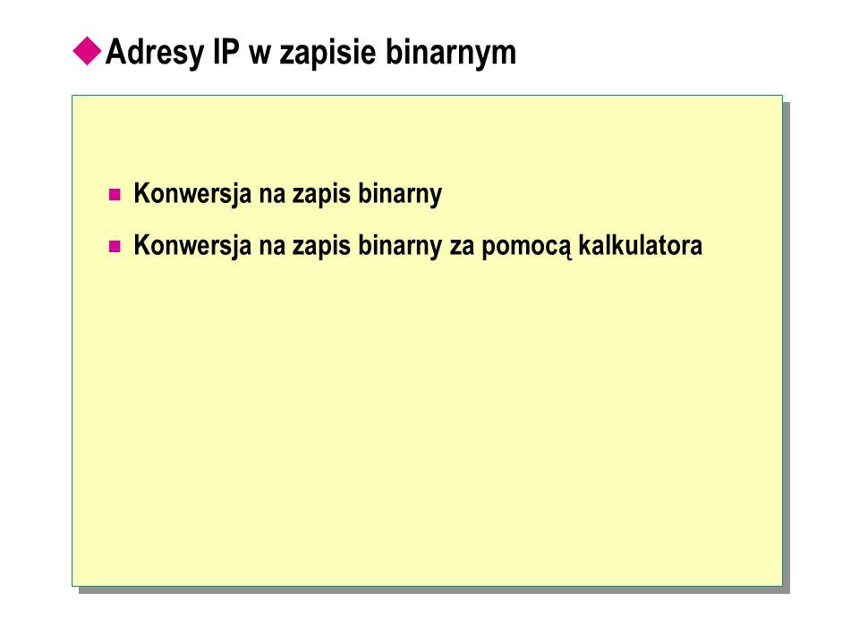 Adresy IP w zapisie binarnym Konwersja na zapis binarny Konwersja na zapis binarny za pomocą kalkulatora