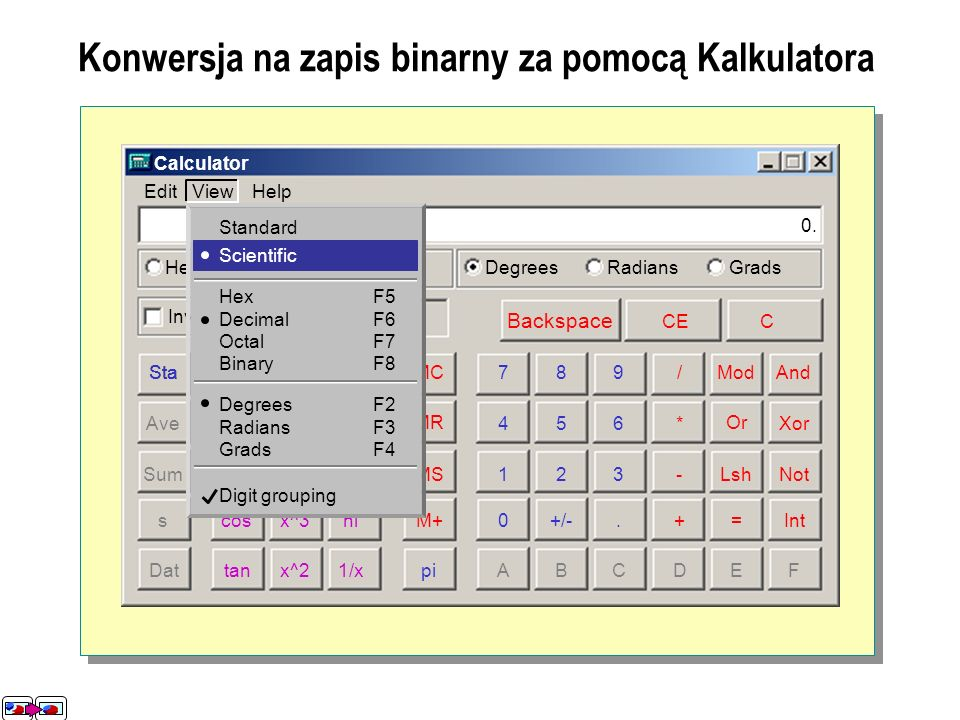Calculator Edit View Help HexDecOctBinDegreesRadiansGrads InvHyp Backspace CEC Sta Ave Sum s Dat StaF-E dms sin cos tan [] ExpIn x^ylog x^3 x^2 nl 1/x