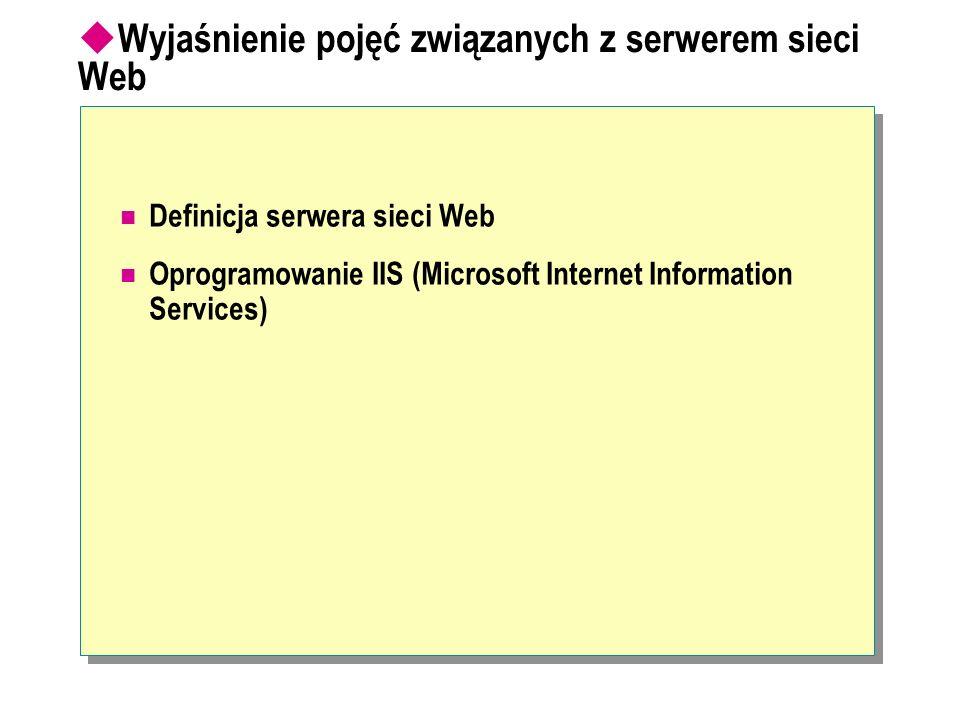 Definicja serwera sieci Web Oprogramowanie IIS (Microsoft Internet Information Services) Wyjaśnienie pojęć związanych z serwerem sieci Web