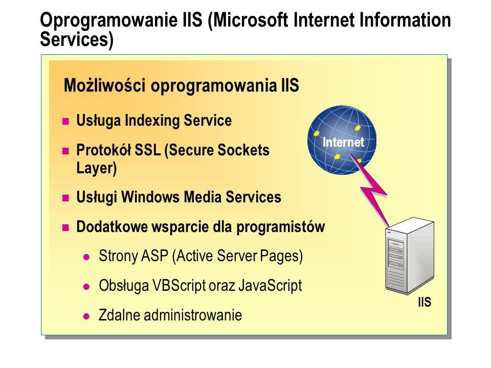 Możliwości oprogramowania IIS Oprogramowanie IIS (Microsoft Internet Information Services) Usługa Indexing Service Protokół SSL (Secure Sockets Layer)