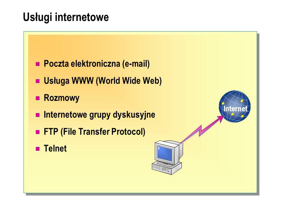 Usługi internetowe Internet Poczta elektroniczna (e-mail) Usługa WWW (World Wide Web) Rozmowy Internetowe grupy dyskusyjne FTP (File Transfer Protocol