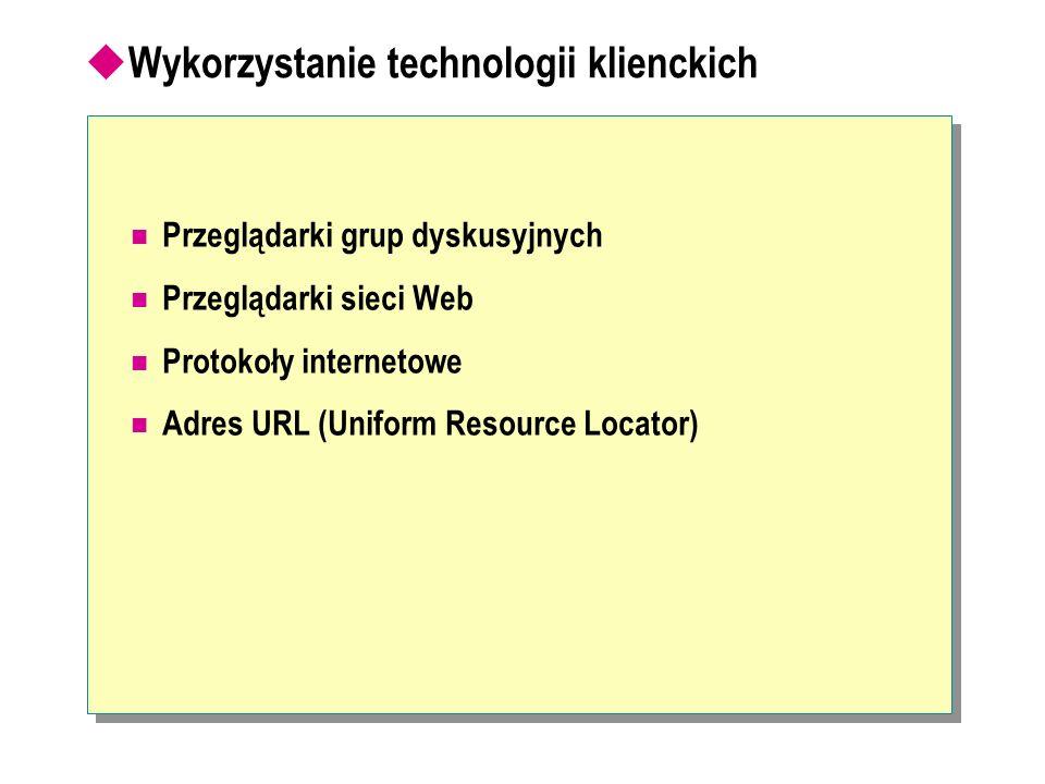 Wykorzystanie technologii klienckich Przeglądarki grup dyskusyjnych Przeglądarki sieci Web Protokoły internetowe Adres URL (Uniform Resource Locator)