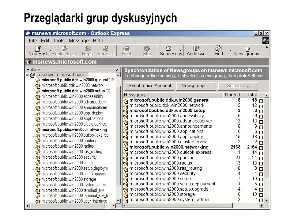 Przeglądarki sieci Web Windows 2000 Server Overview - Microsoft Internet Explorer File Edit View Favorites Tools Help Back SearchFavoritesHistory Address http://www.microsoft.com/windows2000/server/overview/default.asp Go All productsSupportSearchmicrosoft.com Guide Windows Home Pages Windows 2000 Home Page Product Guide Windows 2000 Platform Client Server Technical Library Upgrading to Window 2000 Beta Users IT Pros Developers Search for: Go HomeProduct Guide Windows 2000 Server Family Server Server Features System Requirements What Others are Saying Comparisons With the Windows® 2000 Server operating system, Microsoft has accomplished a goal rarely achieved in the software industry: delivered a product that is evolutionary and revolutionary at the same time.