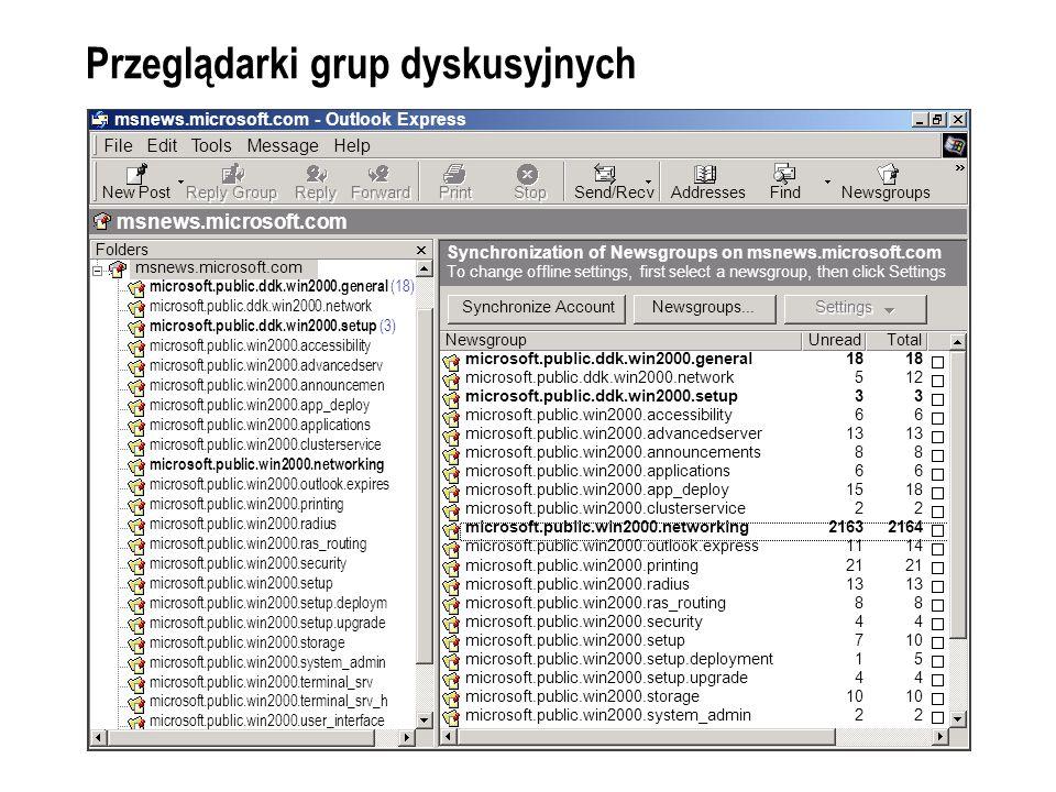 Przeglądarki grup dyskusyjnych msnews.microsoft.com - Outlook Express File Edit Tools Message Help New Post Reply Group Reply Forward Print Stop Send/