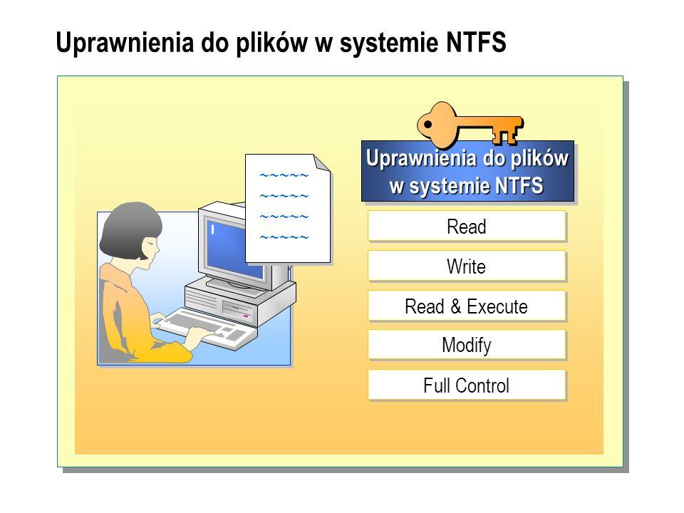 Uprawnienia do plików w systemie NTFS ~~~~~ ~~~~~ Uprawnienia do plików w systemie NTFS Read Write Read & Execute Modify Full Control