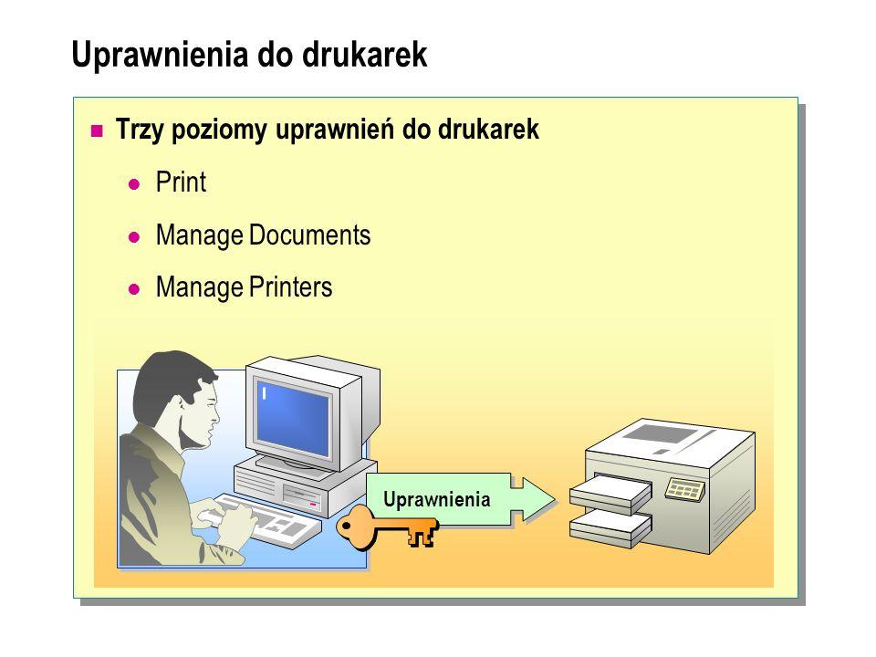 Uprawnienia do drukarek Trzy poziomy uprawnień do drukarek Print Manage Documents Manage Printers Uprawnienia