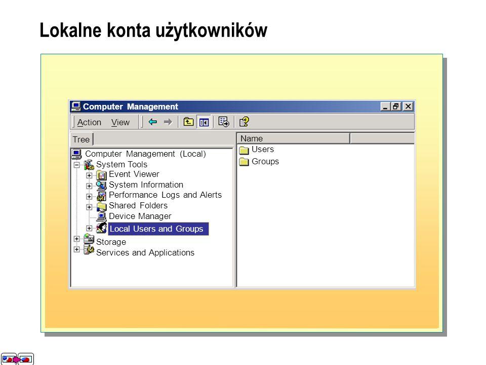 Lokalne konto użytkownika pozwala: Zalogować się na komputerze, na którym to konto istnieje Lokalny użytkownik Lokalne konto użytkownika Wbudowane (lokalne) konta użytkowników Używane podczas pierwszego uruchomienia komputera w systemie Windows 2000 Służy do zadań administracyjnych Nie może zostać usunięte Używane podczas pierwszego uruchomienia komputera w systemie Windows 2000 Służy do zadań administracyjnych Nie może zostać usunięte Domyślnie niedostępne Służy do uzyskiwania tymczasowego dostępu do komputera Domyślnie niedostępne Służy do uzyskiwania tymczasowego dostępu do komputera Administrator Guest Computer Management (Local) System Tools Event Viewer System Information Performance Logs and Alerts Shared Folders Device Manager Action View Local Users and Groups Computer Management Tree Users Groups Name Storage Services and Applications Lokalne konta użytkowników