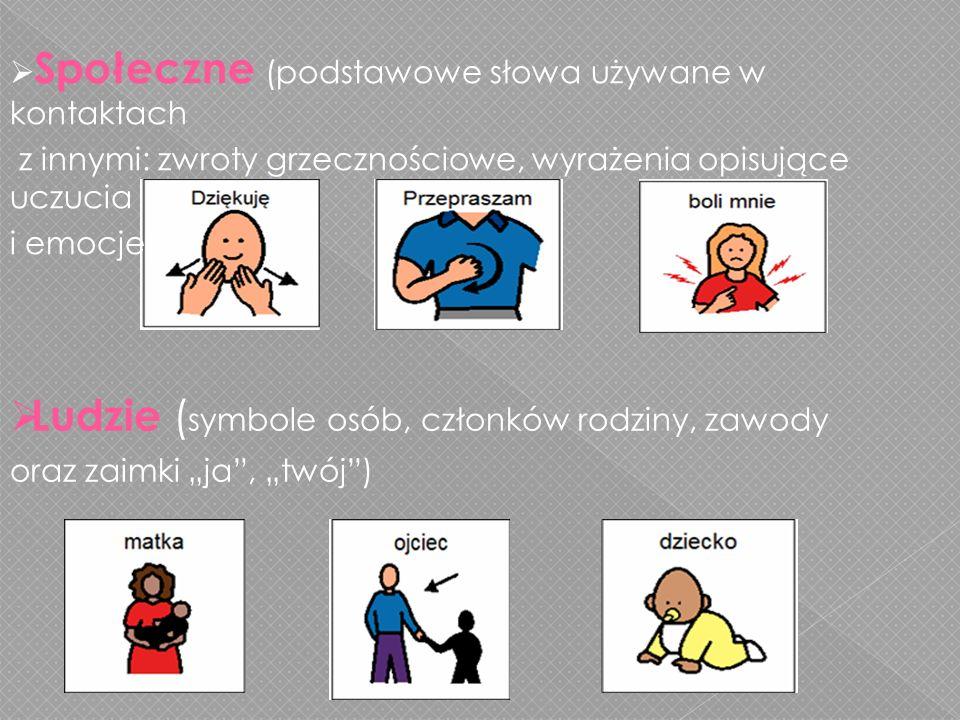 Społeczne (podstawowe słowa używane w kontaktach z innymi: zwroty grzecznościowe, wyrażenia opisujące uczucia i emocje) Ludzie ( symbole osób, członków rodziny, zawody oraz zaimki ja, twój)