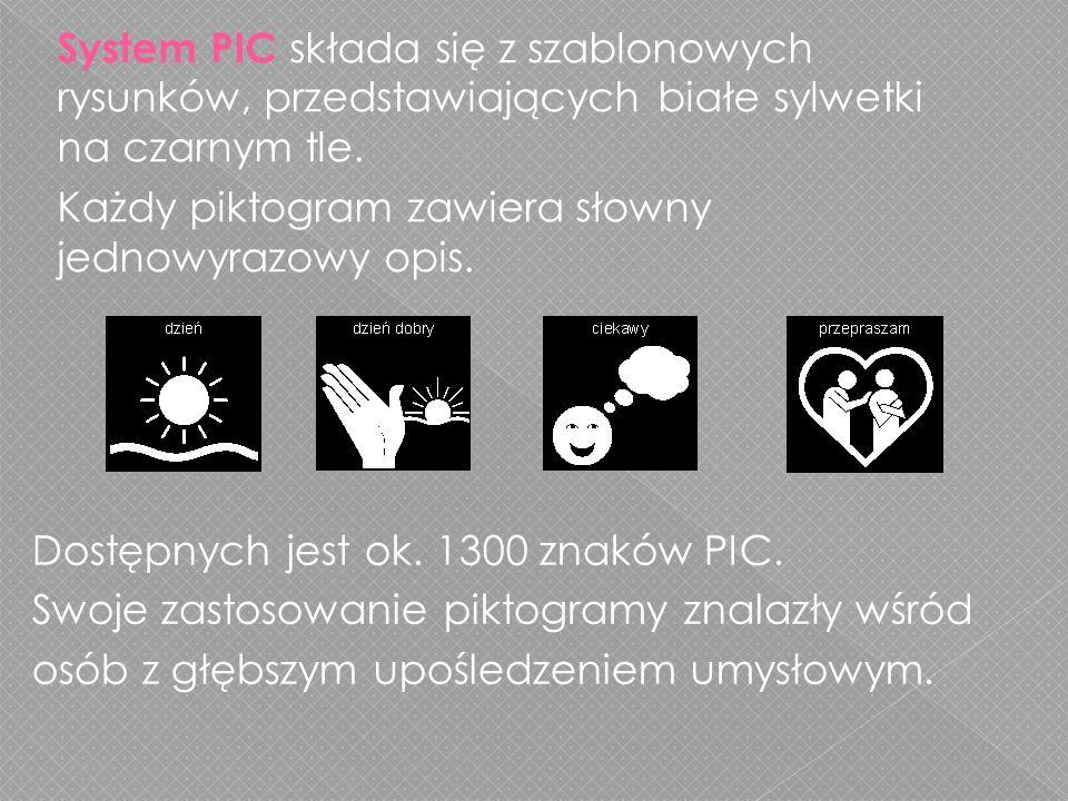 System PIC składa się z szablonowych rysunków, przedstawiających białe sylwetki na czarnym tle.