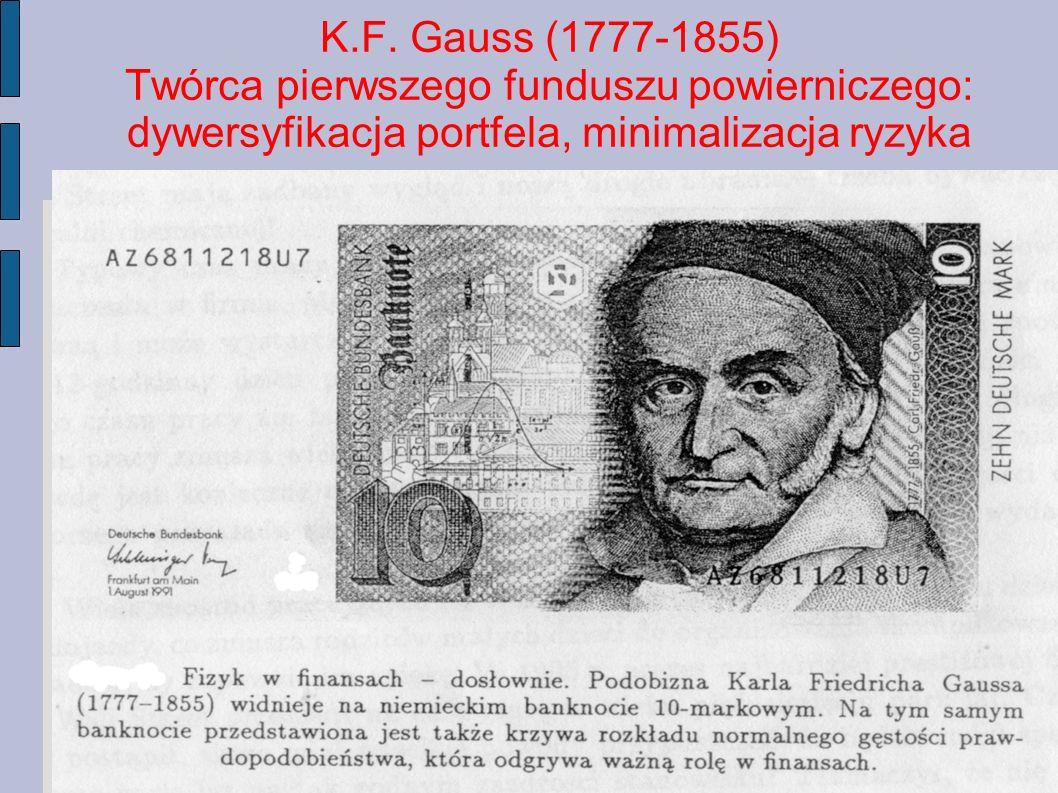 K.F. Gauss (1777-1855) Twórca pierwszego funduszu powierniczego: dywersyfikacja portfela, minimalizacja ryzyka