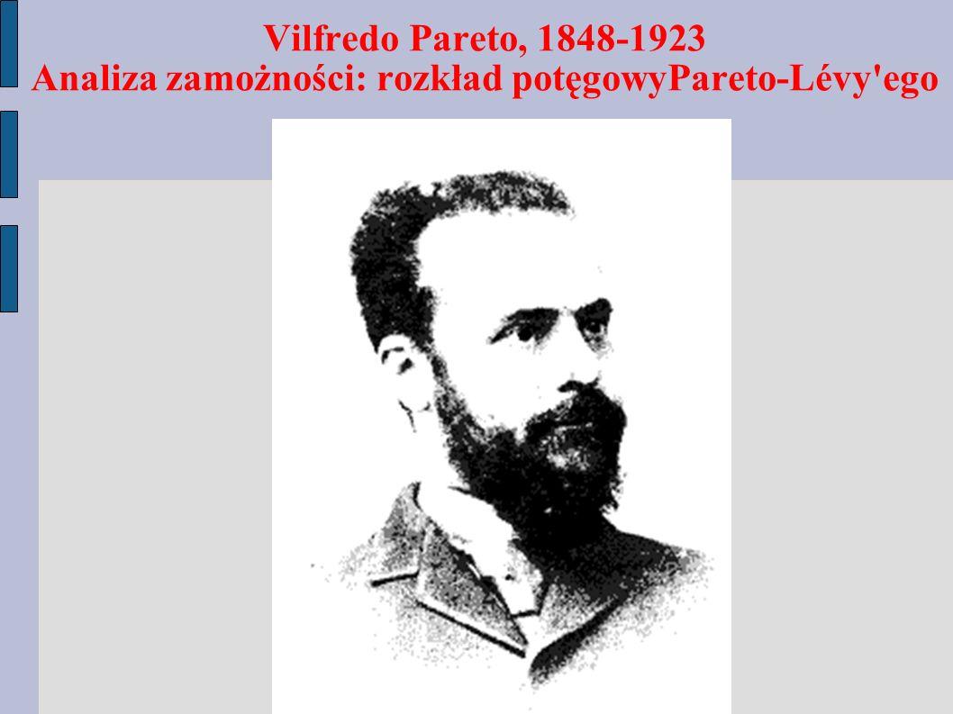 Vilfredo Pareto, 1848-1923 Analiza zamożności: rozkład potęgowyPareto-Lévy'ego