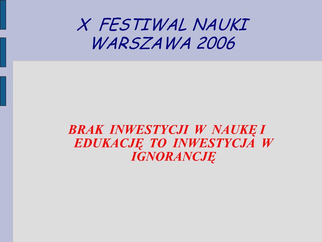 X FESTIWAL NAUKI WARSZAWA 2006 BRAK INWESTYCJI W NAUKĘ I EDUKACJĘ TO INWESTYCJA W IGNORANCJĘ