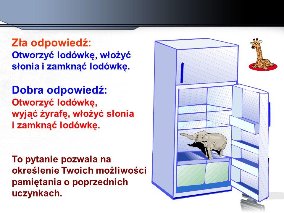 Zła odpowiedź: Otworzyć lodówkę, włożyć słonia i zamknąć lodówkę.