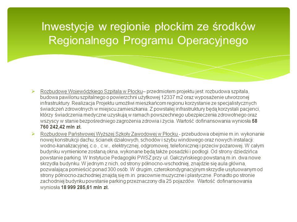 Rozbudowę Wojewódzkiego Szpitala w Płocku– przedmiotem projektu jest: rozbudowa szpitala, budowa pawilonu szpitalnego o powierzchni użytkowej 12337 m2 oraz wyposażenie utworzonej infrastruktury.