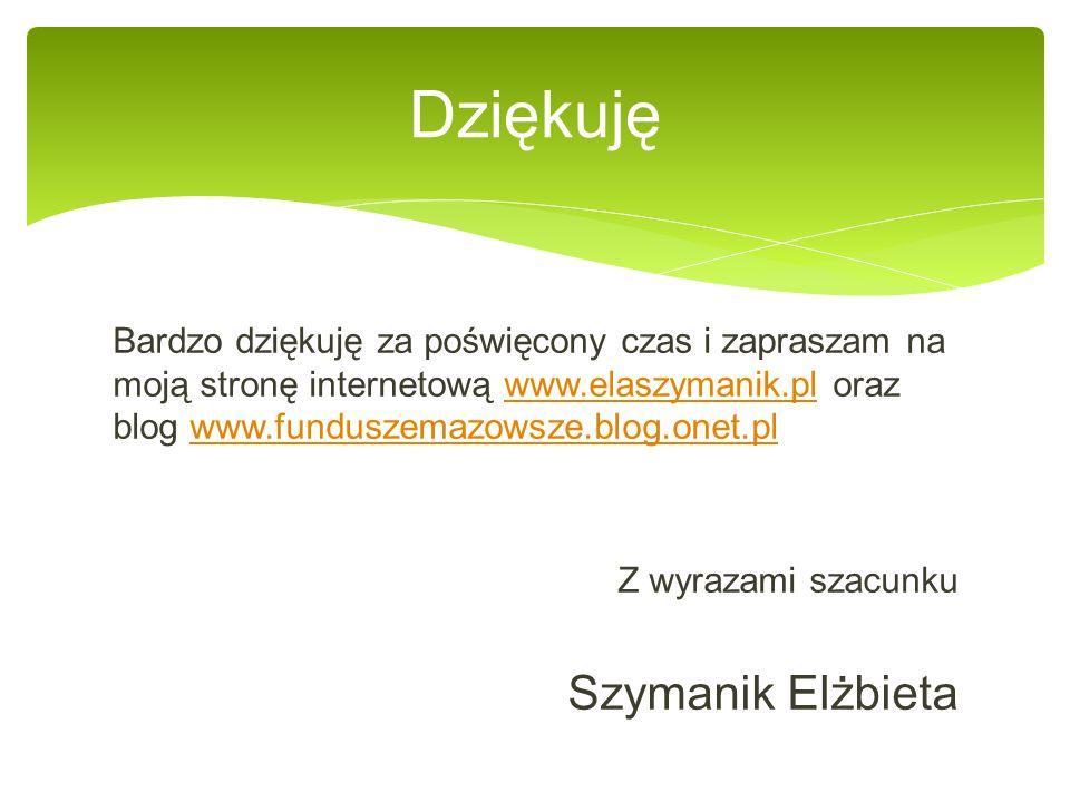 Bardzo dziękuję za poświęcony czas i zapraszam na moją stronę internetową www.elaszymanik.pl oraz blog www.funduszemazowsze.blog.onet.plwww.elaszymanik.plwww.funduszemazowsze.blog.onet.pl Z wyrazami szacunku Szymanik Elżbieta Dziękuję