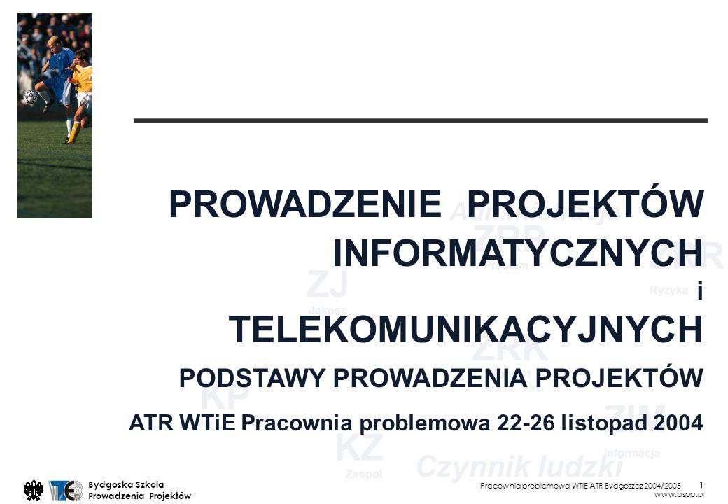 Pracownia problemowa WTiE ATR Bydgoszcz 2004/2005 Bydgoska Szkola Prowadzenia Projektów www.bspp.pl 32 PROWADZENIE PROJEKTÓW INFORMATYCZNYCH i TELEKOMUNIKACYJNYCH PODSTAWY PROWADZENIA PROJEKTÓW ATR WTiE Pracownia problemowa 22-26 listopad 2004 Poniedzialek 22 listopada 2004 13.15 - 14.45 15.15 - 16.45 Projekt, prowadzenie, metody, standardy 7:00 ZOC Zarzadzanie Osiagnieciem Celu 8:00 ZO Zarzadzanie Organizacja Bogdan Lent Rozpracowanie zadania ZOC, ZO Bogdan Lent