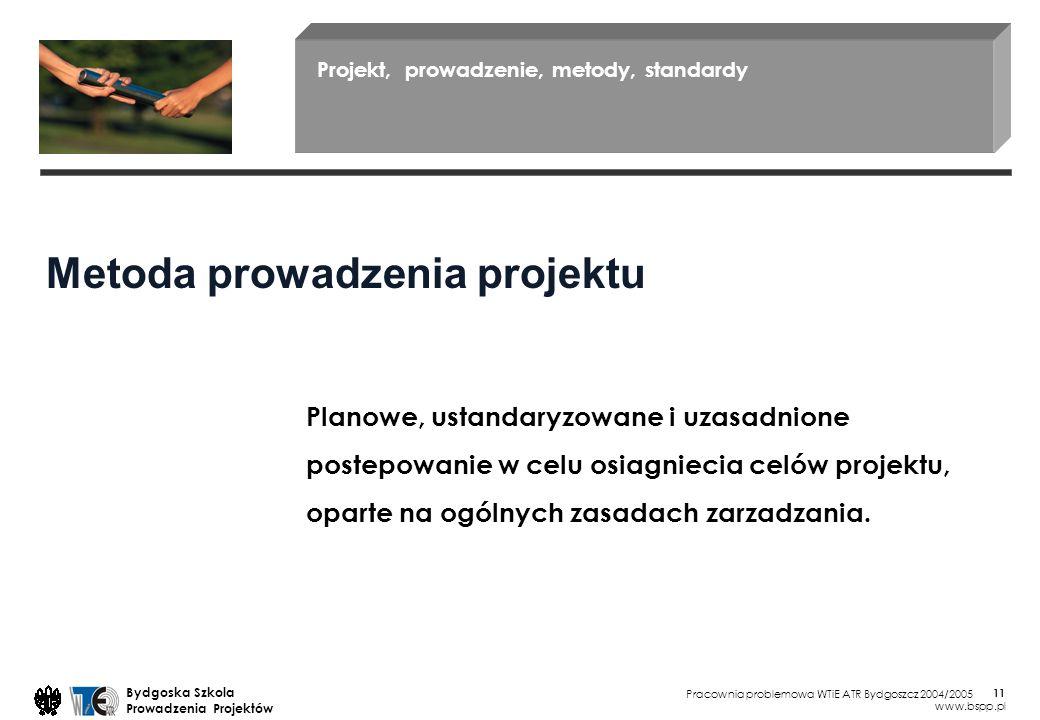 Pracownia problemowa WTiE ATR Bydgoszcz 2004/2005 Bydgoska Szkola Prowadzenia Projektów www.bspp.pl 11 Projekt, prowadzenie, metody, standardy Planowe, ustandaryzowane i uzasadnione postepowanie w celu osiagniecia celów projektu, oparte na ogólnych zasadach zarzadzania.