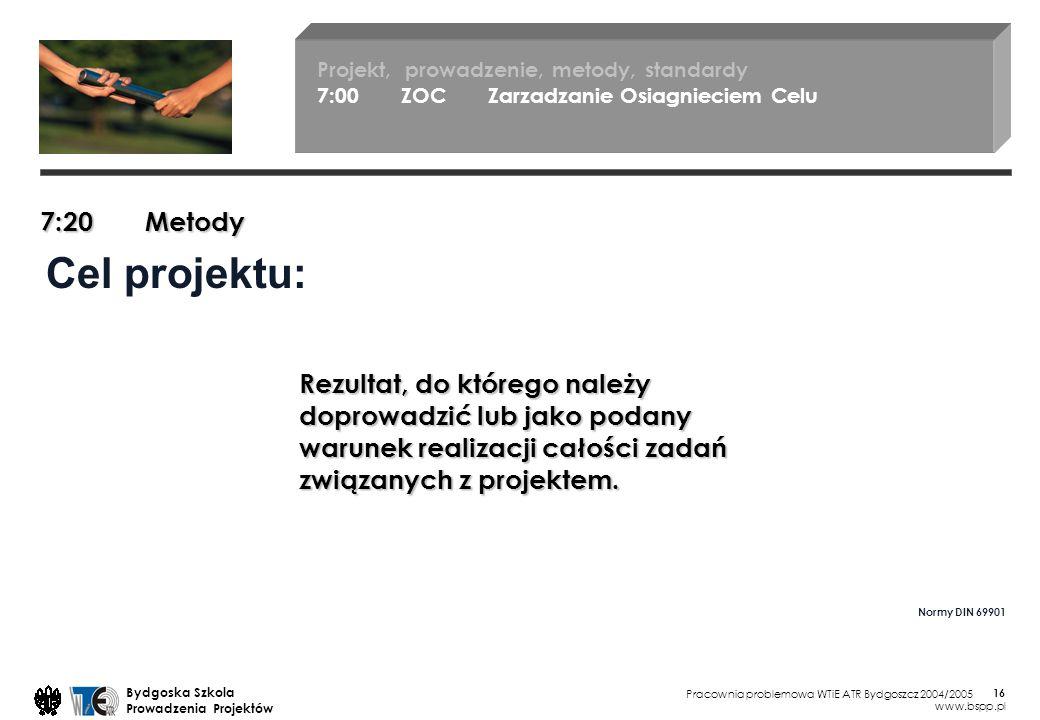 Pracownia problemowa WTiE ATR Bydgoszcz 2004/2005 Bydgoska Szkola Prowadzenia Projektów www.bspp.pl 16 Cel projektu: Rezultat, do którego należy doprowadzić lub jako podany warunek realizacji całości zadań związanych z projektem.