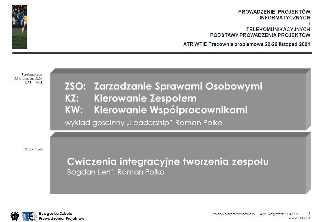 Pracownia problemowa WTiE ATR Bydgoszcz 2004/2005 Bydgoska Szkola Prowadzenia Projektów www.bspp.pl 3 ZSO: Zarzadzanie Sprawami Osobowymi KZ: Kierowanie Zespołem KW: Kierowanie Współpracownikami wyklad goscinny Leadership Roman Polko