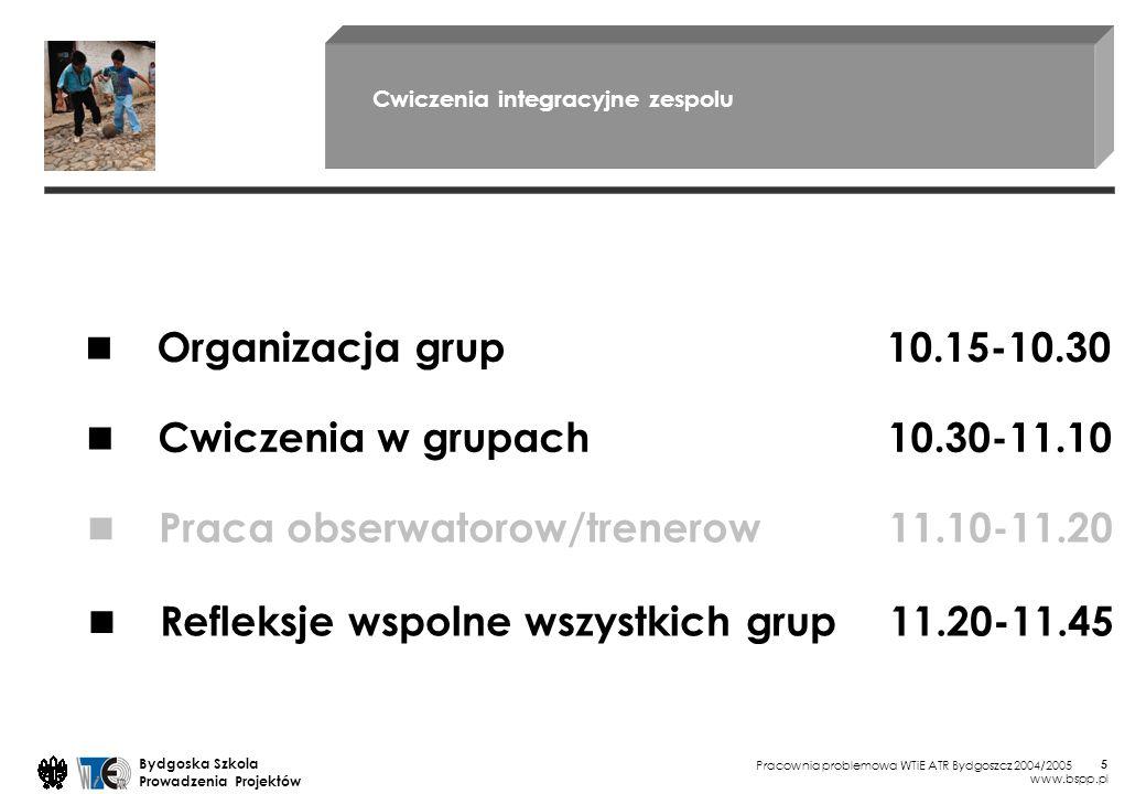 Pracownia problemowa WTiE ATR Bydgoszcz 2004/2005 Bydgoska Szkola Prowadzenia Projektów www.bspp.pl 26 Procesy Administracja Projekt, prowadzenie, metody, standardy 7:00 ZOC Zarzadzanie Osiagnieciem Celu 8:00 ZO Zarzadzanie Organizacja