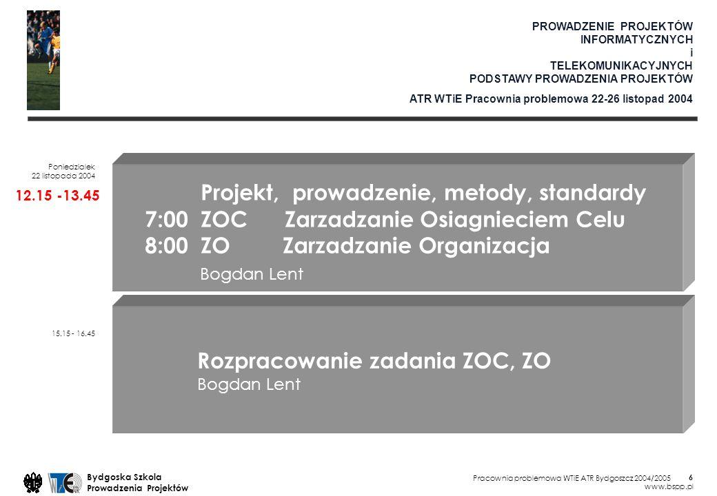 Pracownia problemowa WTiE ATR Bydgoszcz 2004/2005 Bydgoska Szkola Prowadzenia Projektów www.bspp.pl 27 8:00 ZOC Zarzadzanie Organizacja: Okreslenie: podzialu ról, zadan, kompetencji, zakresów odpowiedzialnosci, srodkow inwestycyjnych i ich formy organizacji pracy w projekcie.