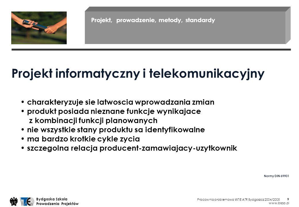 Pracownia problemowa WTiE ATR Bydgoszcz 2004/2005 Bydgoska Szkola Prowadzenia Projektów www.bspp.pl 9 Projekt, prowadzenie, metody, standardy Projekt informatyczny i telekomunikacyjny Normy DIN 69901 charakteryzuje sie latwoscia wprowadzania zmian produkt posiada nieznane funkcje wynikajace z kombinacji funkcji planowanych nie wszystkie stany produktu sa identyfikowalne ma bardzo krotkie cykle zycia szczegolna relacja producent-zamawiajacy-uzytkownik