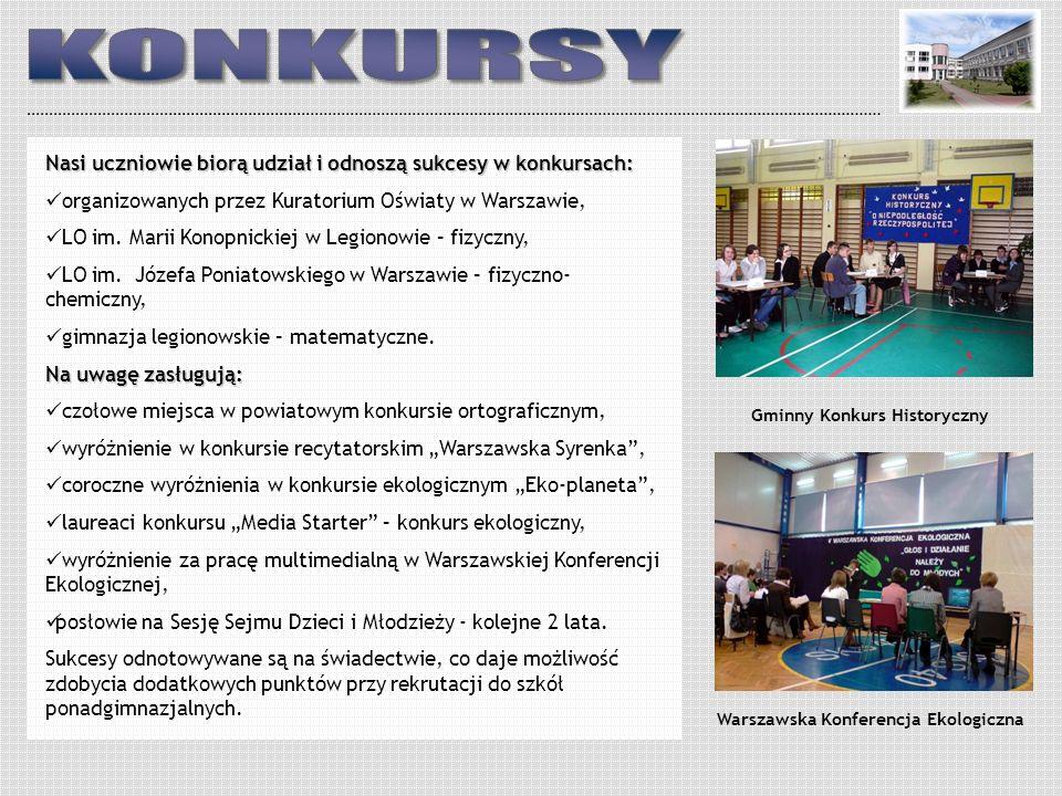 Nasi uczniowie biorą udział i odnoszą sukcesy w konkursach: organizowanych przez Kuratorium Oświaty w Warszawie, LO im. Marii Konopnickiej w Legionowi