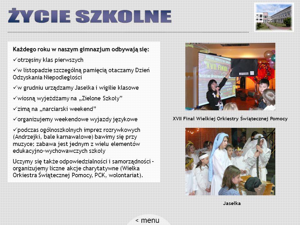 Gimnazjum w Zegrzu: szkoła położona jest na malowniczej skarpie nad samym Zalewem Zegrzyńskim jesteśmy w czołówce gminy pod względem wyników egzaminu gimnazjalnego dogodny dojazd: jeden kurs rano, dwa kursy popołudniowe wykwalifikowana i doświadczona kadra nauczycieli – 70% to nauczyciele mianowani i dyplomowani małe zespoły klasowe umożliwiają indywidualizację nauczania duże sale lekcyjne, bardzo dobrze wyposażone w pomoce naukowe nowoczesna sala gimnastyczna i boisko oraz multimedialna sala języka angielskiego biorąc udział w akcji pod patronatem Prezydenta RP, gimnazjum uzyskało w 2004 roku tytuł Szkoły z Klasą < menu Budynek szkoły Zieleń, porządek i bezpieczne otoczenie