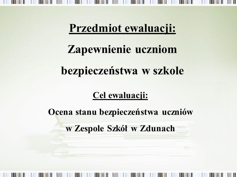 Przedmiot ewaluacji: Zapewnienie uczniom bezpieczeństwa w szkole Cel ewaluacji: Ocena stanu bezpieczeństwa uczniów w Zespole Szkół w Zdunach