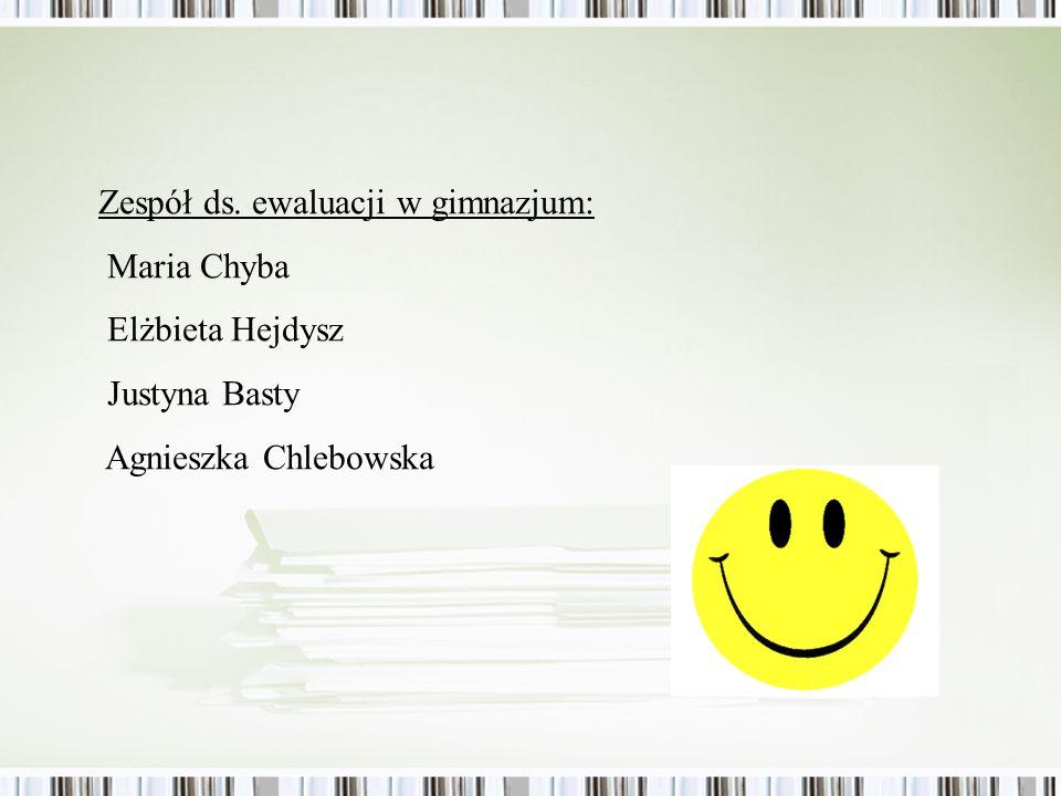 Zespół ds. ewaluacji w gimnazjum: Maria Chyba Elżbieta Hejdysz Justyna Basty Agnieszka Chlebowska