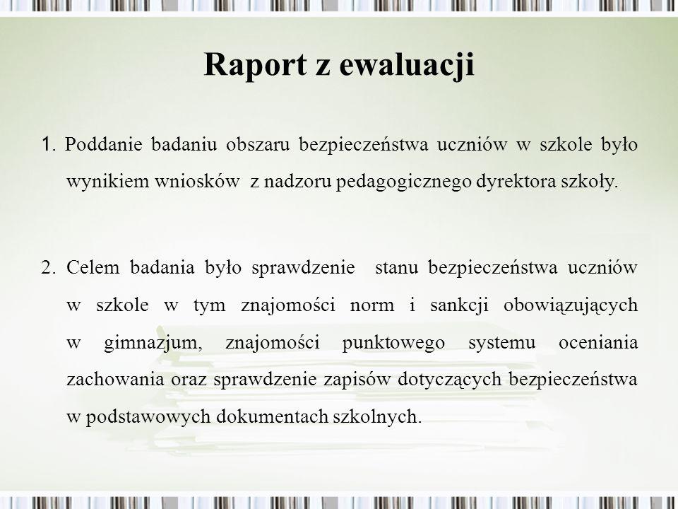 Raport z ewaluacji 1. Poddanie badaniu obszaru bezpieczeństwa uczniów w szkole było wynikiem wniosków z nadzoru pedagogicznego dyrektora szkoły. 2. Ce