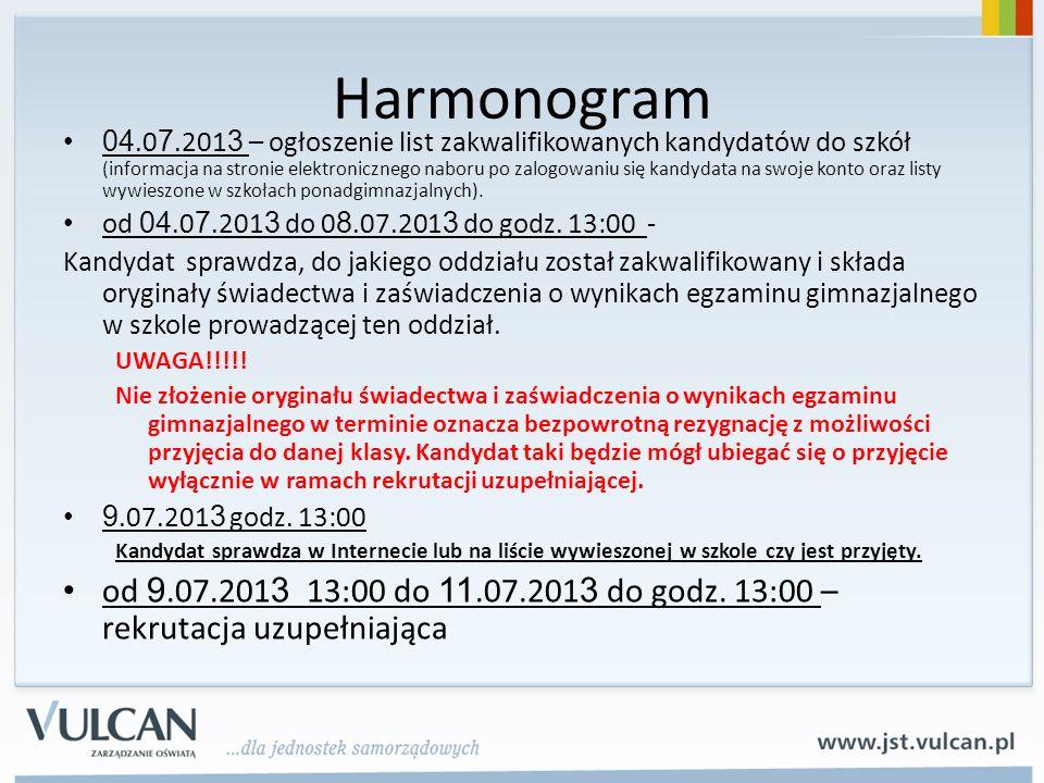 Harmonogram 04.0 7.201 3 – ogłoszenie list zakwalifikowanych kandydatów do szkół (informacja na stronie elektronicznego naboru po zalogowaniu się kandydata na swoje konto oraz listy wywieszone w szkołach ponadgimnazjalnych).