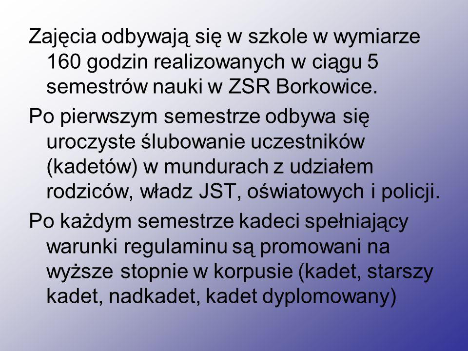 Zajęcia odbywają się w szkole w wymiarze 160 godzin realizowanych w ciągu 5 semestrów nauki w ZSR Borkowice.