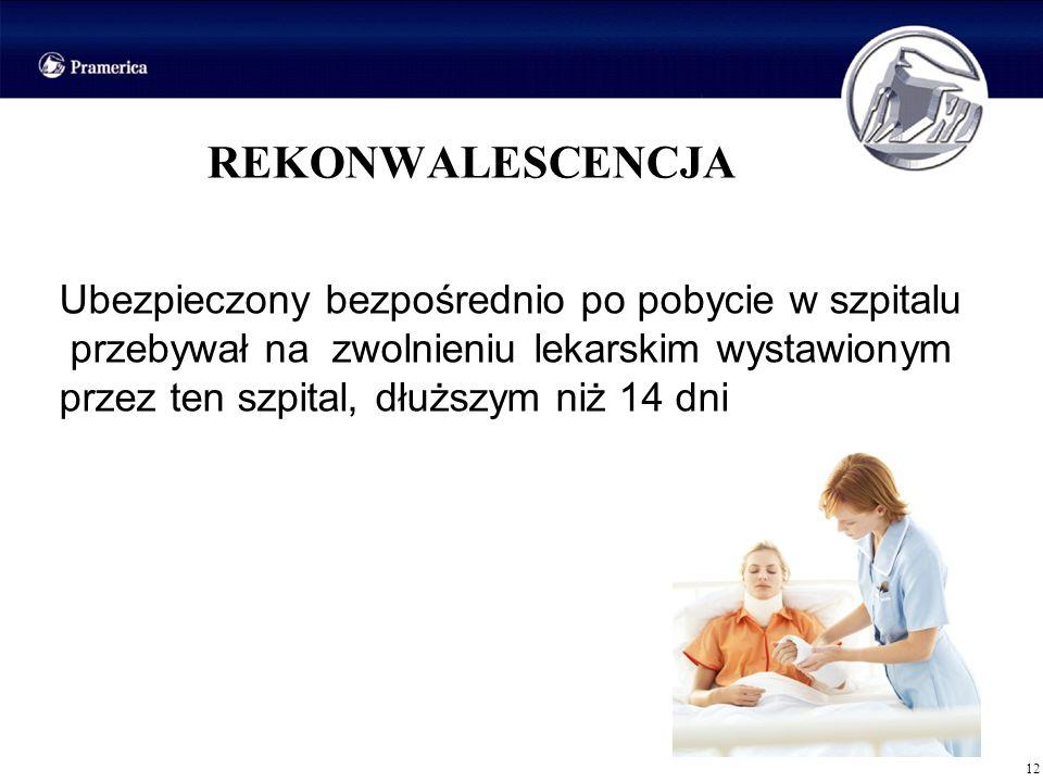 12 REKONWALESCENCJA Ubezpieczony bezpośrednio po pobycie w szpitalu przebywał na zwolnieniu lekarskim wystawionym przez ten szpital, dłuższym niż 14 d
